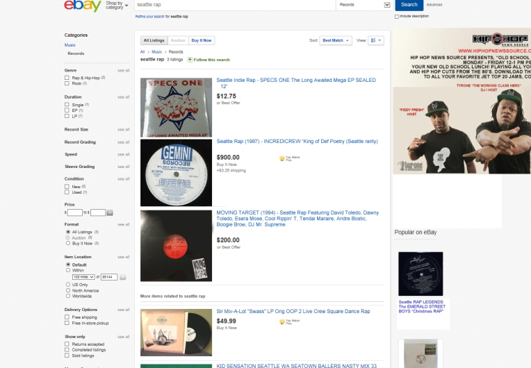 Seattle Rap Ebay